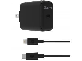 Một bộ Củ sạc Griffin PowerBlock USB-C PD 18W và dây sạc USB-C to Lightning Cable (GP-070-BLK-NA)