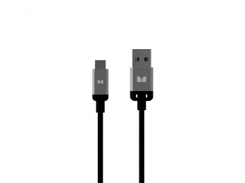 Dây USB, MicroUSB Monster Mobile® High Performance USB TypeA 2.0 to Micro USB_B Cable - Black and Silver