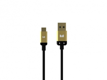 Dây USB, MicroUSB Monster Mobile® High Performance USB TypeA 2.0 to Micro USB_B Cable - Black and Gold