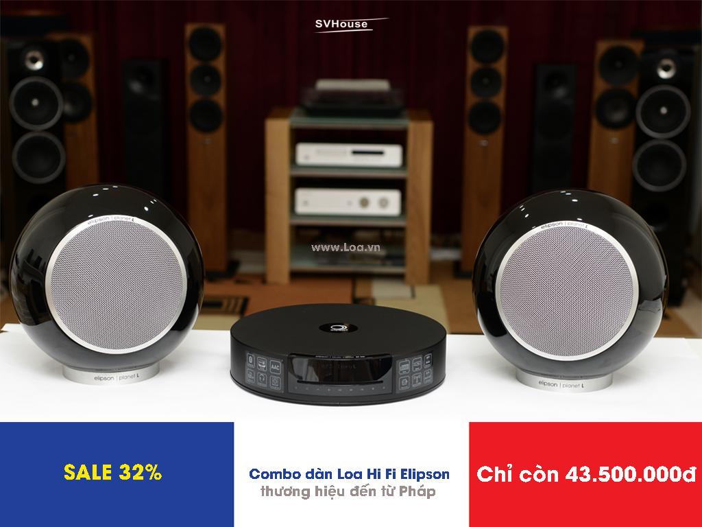 SALE 32% Combo dàn âm thanh Hi Fi gồm Loa đồng trục Elipson Planet L và CD Player - Amplifier tích hợp bluetooth Elipson Music Center BT HD chỉ còn có 43.500.000đ, giá đã bao gồm VAT, tặng 1 cặp dây loa Nuforce SC700B (1m)